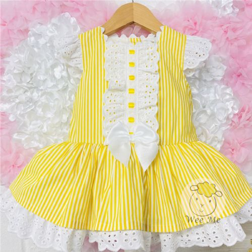 New Arrival Gorgeous Baby Girl Yellow Stripe Drop Waist Puff Dress